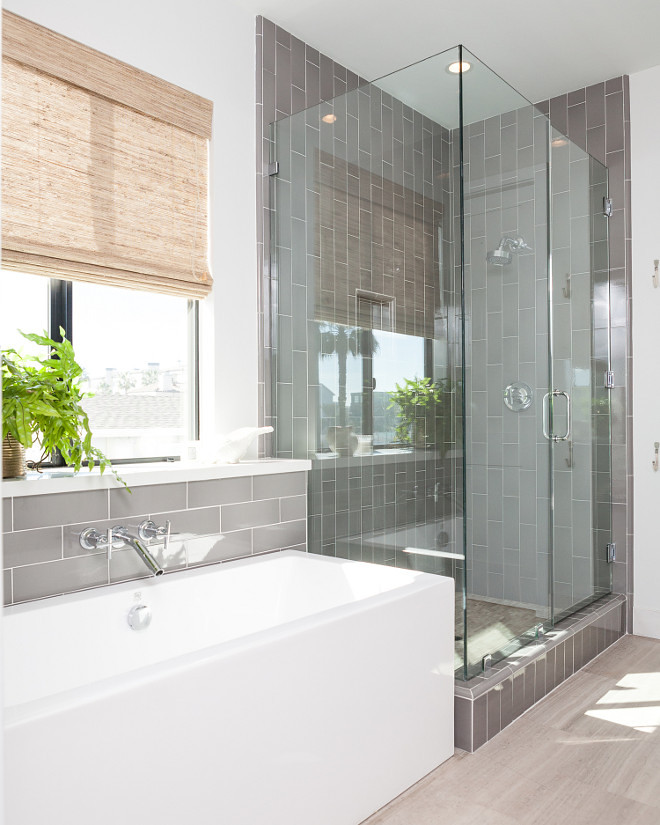 Gray Bathroom Tiling. Gray Bathroom Tile. Gray Bathroom Tile Ideas. Gray Bathroom Tiling. Bathroom with gray glass subway tiles. #GrayBathroomTiling #Bathroomgrayglasssubwaytile # GrayBathroomTile Jasmine Roth.
