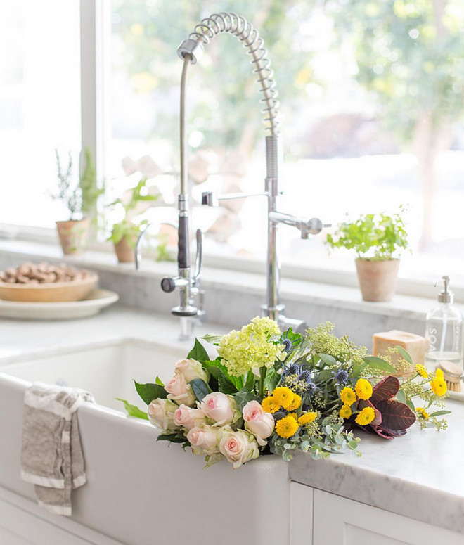 Farmhouse kitchen sink faucet. Farmhouse kitchen sink faucet ideas. Kitchen faucet is by Signature Hardware. #Farmhousekitchensinkfaucet #Kitchenfaucet #kitchensinkfaucet #Farmhousekitchensink Heather Bullard