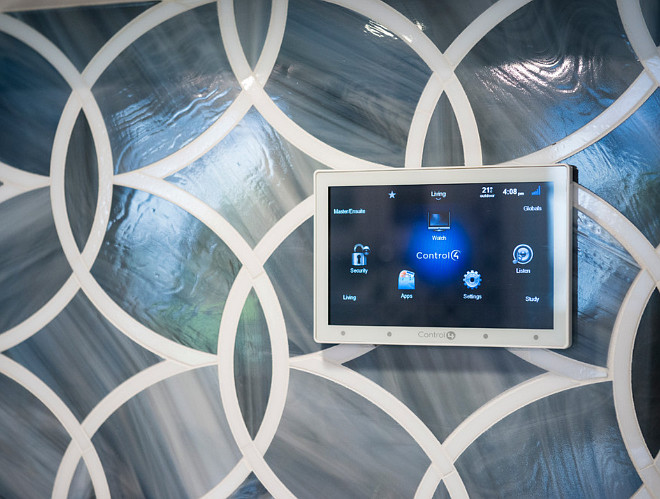 Home Automation. Kitchen with Home Automation Panel. Control4 Automation System. BuiltGreen Platinum Certified home with Control4 Automation System installed in the kitchen for easy access. #Control4AutomationSystem #HomeAutomationSystem #Home Automation Sarah Gallop Design Inc.