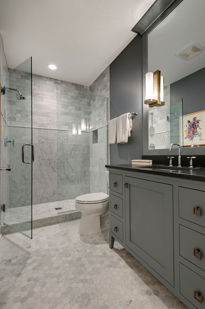 Gray bathroom with hex marble floor tiles. Bathroom Hex Flooring. Bathroom Hex Marble Flooring. Bathroom Hex Tiles. #BathroomHexTiles #BathroomHexMarbleTiles #BathroomHexFlooing #BathroomHextiling #BathroomHexfloortiles #GrayBathroomHex #HexTiles Spacecrafting Photography. City Homes Design and Build, LLC. Jodi Mellin Interiors