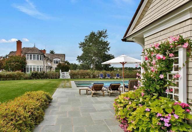 Backyard. Backyard with pool and pool house. #Backyard Backyard
