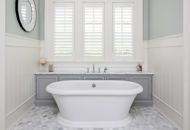 Bath Nook. Freestanding bath nook. Freestanding bath nook with cabinets behind bath for storage. #Freestandingbathnook #Bathnook Artisan Signature Homes.
