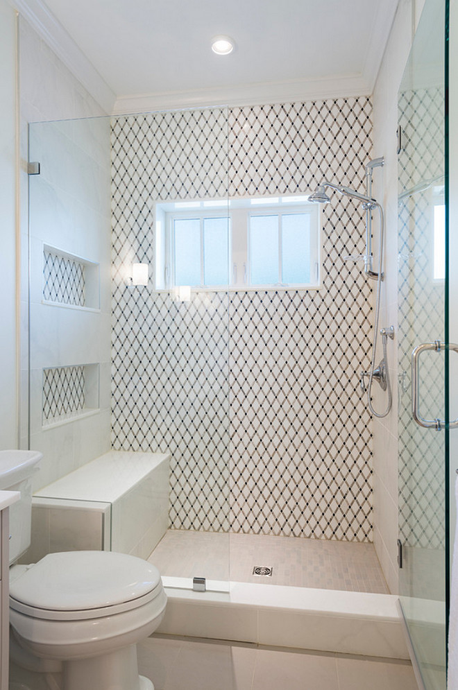 Bathroom Shower Tile and Bench. Bathroom Shower Tile and Bench Ideas. Combination of tiles in shower. #Bathroom #ShowerTile #ShowerBench Sarah Gallop Design Inc.