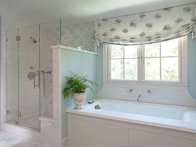 Bathtub surround millwork. The wall color is Benjamin Moore Palladian Blue. The tub surround was detailed to include the wall mount faucet. #BenjaminMoorePalladianBlue Johnston Home LLC
