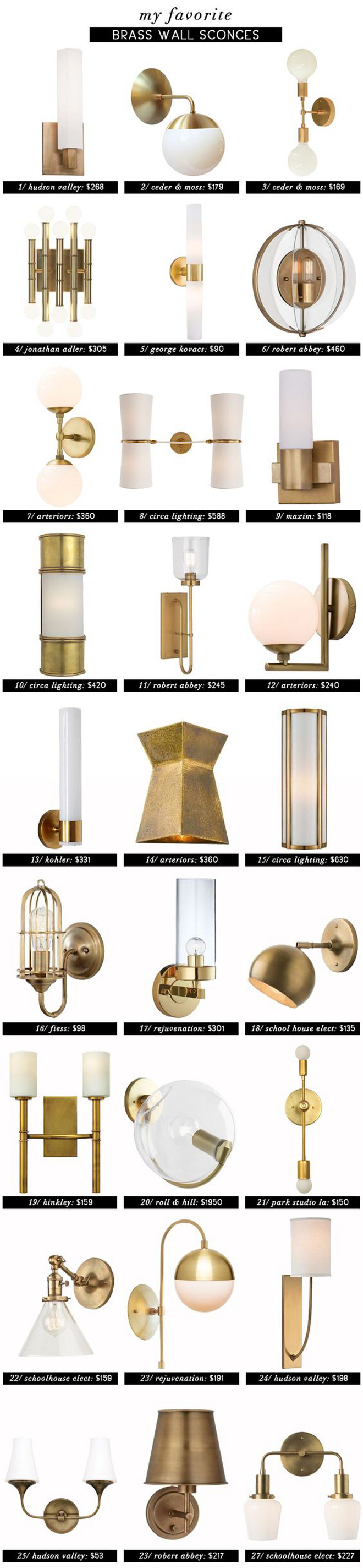 Brass Wall Sconces Roundup. Brass Wall Sconces. List of Brass Wall Sconces with price. # BrassWallSconces #BrassSconce #Brasssconces #ListBrassSconces #SconcePrice Via Emily Henderson.