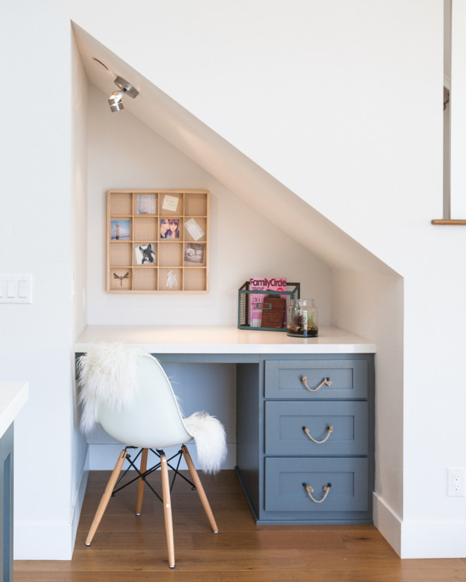 Built in desk tucked under the staircase. Built in desk tucked under the staircase in small kitchen. #Builtindesktuckedunderstaircase Jasmine Roth.