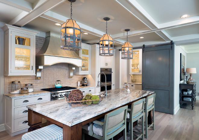"Kitchen island tree pendant light ideas. Kitchen island with three pendant lights. The three pendant lights are Lucia Chandelier SCH-550225 Gabby Ceiling Mount Iron/Burlap. Height: 20"" Dia: 13"". #Kitchenisland #Kitchentreependants #LuciaChandelierGabbyCeilingMountIronBurlap Mike Schaap Builders"