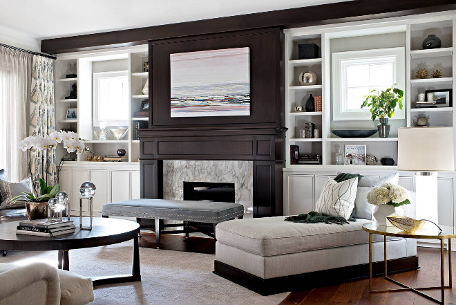 Chic Family Room. Family Room features paneled fireplace flanked by large built in bookcases. Family Room designed by Elizabeth Metcalfe Interiors & Design Inc. #FamilyRoom
