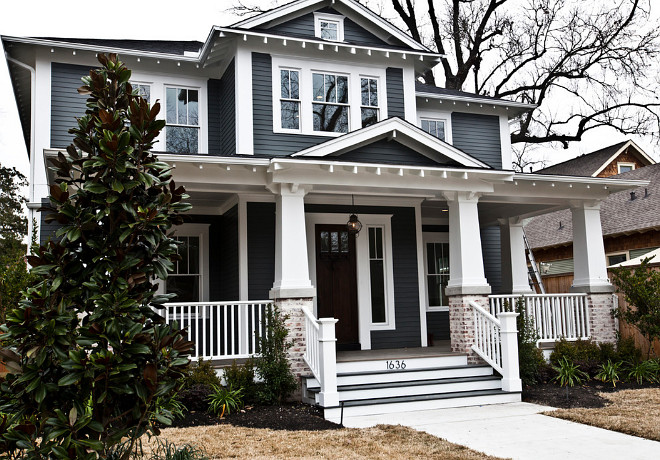 Dark exterior paint color ideas. Body Sherwin Williams SW7068 Grizzle Gray. Trim Sherwin Williams SW7008 Extra White. Southland Homes of Texas