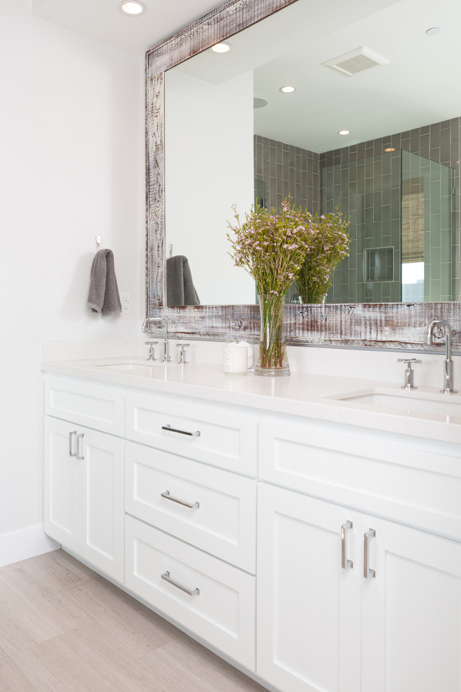 Simple One Large Mirror Or Two Individual Mirrors Over Double Vanity