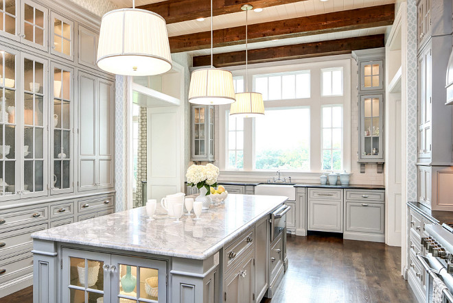 Gray Kitchen with beams. Gray Kitchen with ceiling beams. Gray Kitchen with ceiling beams. #GrayKitchen #Kitchenceilingbeams Artisan Signature Homes.