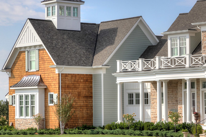 Home Exterior Siding Ideas. This home exterior features James Hardie beaded siding on the main house and straight siding on all the dormers with no bead. Artisan Signature Homes.