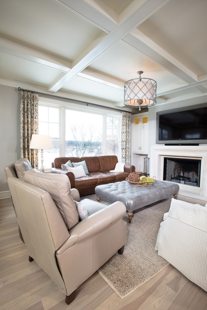 How to use leather furniture in a living room without looking outdated. Mike Schaap Builders