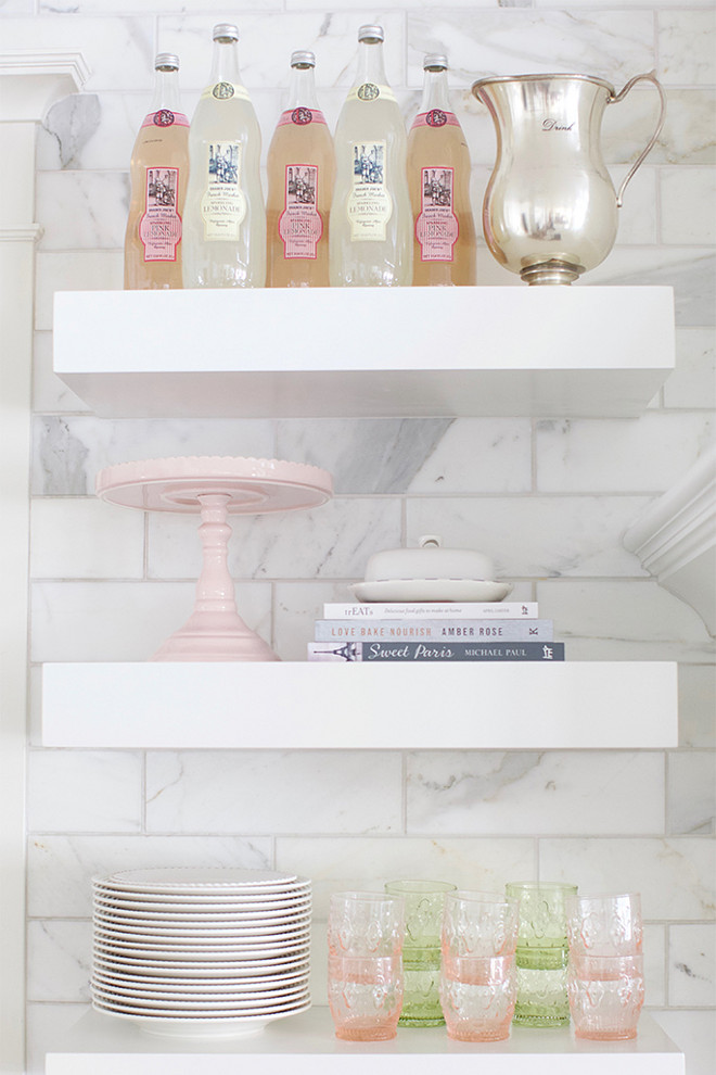 Kitchen Floating Shelves. White marble tile backsplash and Kitchen Floating Shelves. Kitchen Floating Shelves against marble tile backsplash #KitchenFloatingShelves Pink Peonies.