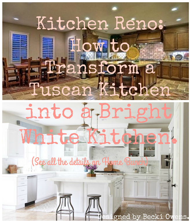 Kitchen Reno Before and After Pitcures. How to transform a Tuscan Kitchen into a Bright White Kitchen #Kitchenreno #Kitchenbeforeafter #beforeafterpictures #beforeafterkitchen Becki Owens