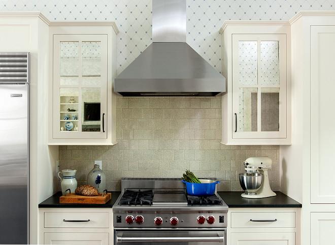 """The kitchen features 6"""" x 6""""crackle subway tile backsplash and soastone countertop. #cracklesubwaytile #soapstone"""