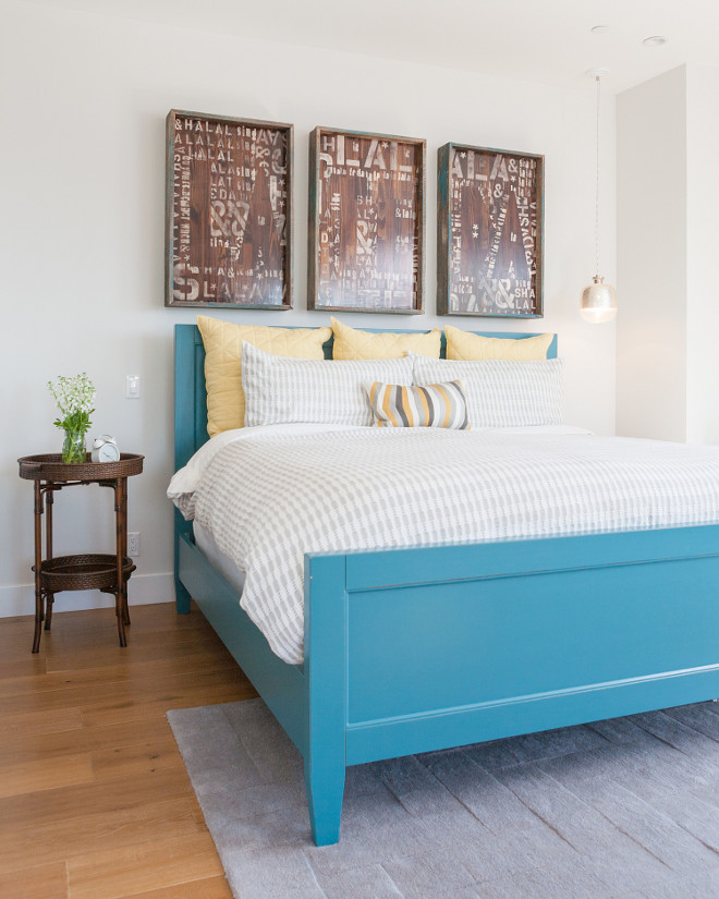 Master Bedroom Blue Bed and DIY Art. Cottage bedroom ideas. Cottage bedroom with blue bed and DIY art. Jasmine Roth.