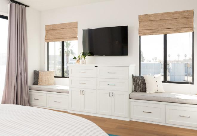 Master bedroom custom cabinets and window seat. Jasmine Roth.