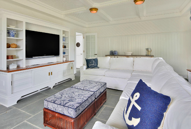 Pool House Interior Floor Ideas. Pool House with Bluestone floor tiles. # PoolHouse # & Category: Coastal Interior Ideas - Home Bunch Interior Design Ideas