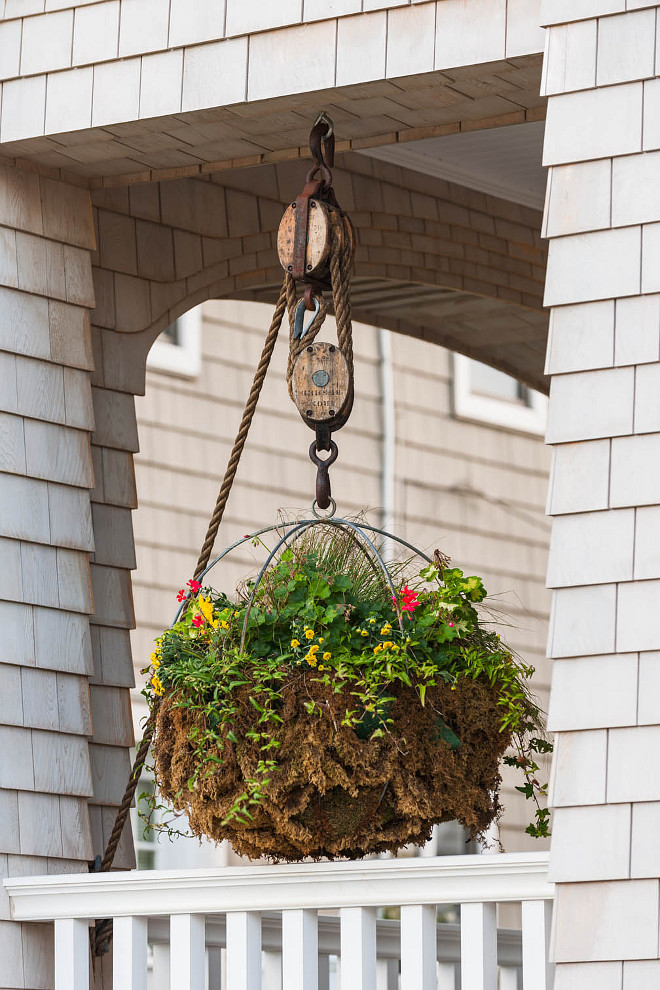Porch hanging flower basket. Beach house Porch hanging flower basket ideas. Porch hanging flower basket #Porchhangingbasket #Porchhangingflowerbasket Asher Architects