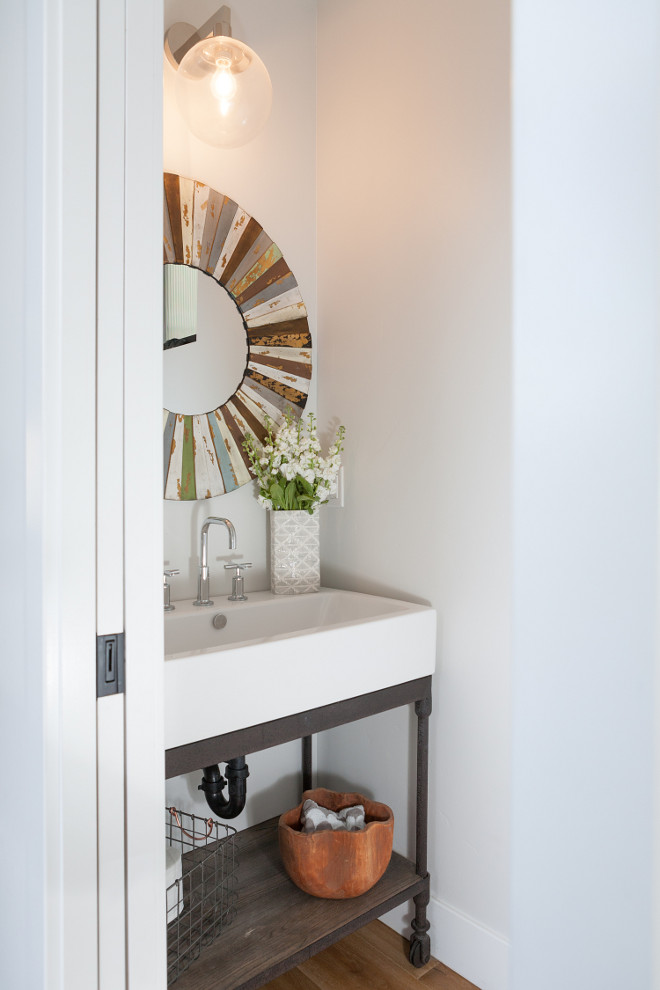 Powder Room with Pocket Doors. Small Powder Room with Pocket Doors. #PowderRoomPocketDoors Jasmine Roth.