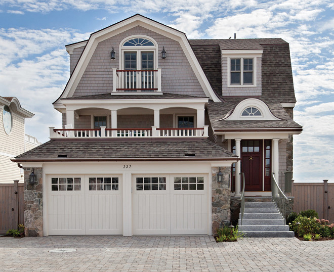 Shingle Gambrel Home Exterior. Living Spaces Architectural Associates.