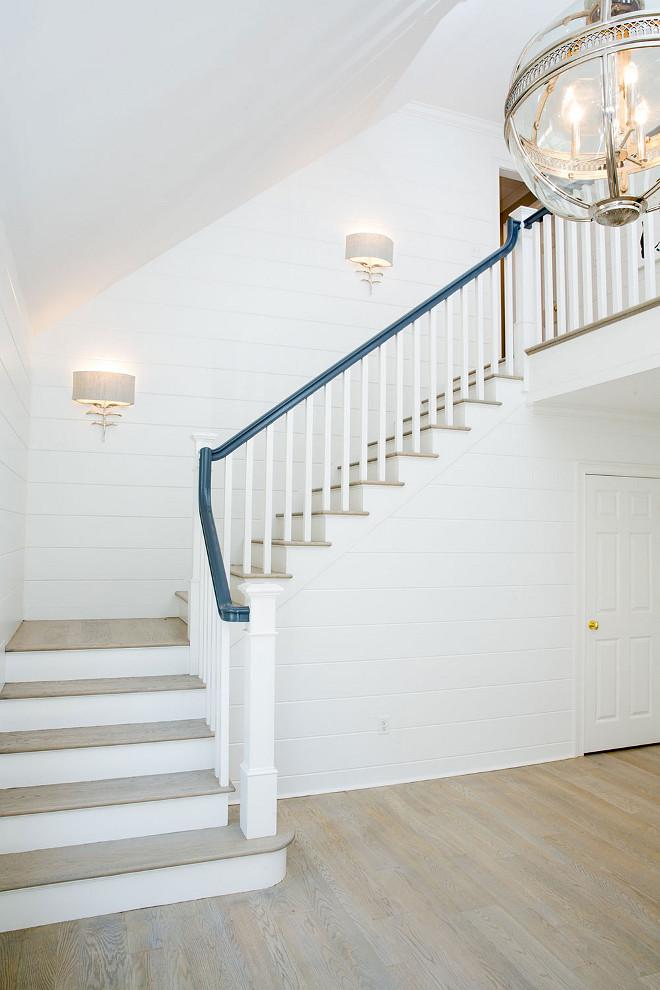 Shiplap Staircase. Shiplap Staircase. White Shiplap Staircase. Shiplap Staircase #ShiplapStaircase #WhiteShiplapStaircase Carolyn Thayer interiors