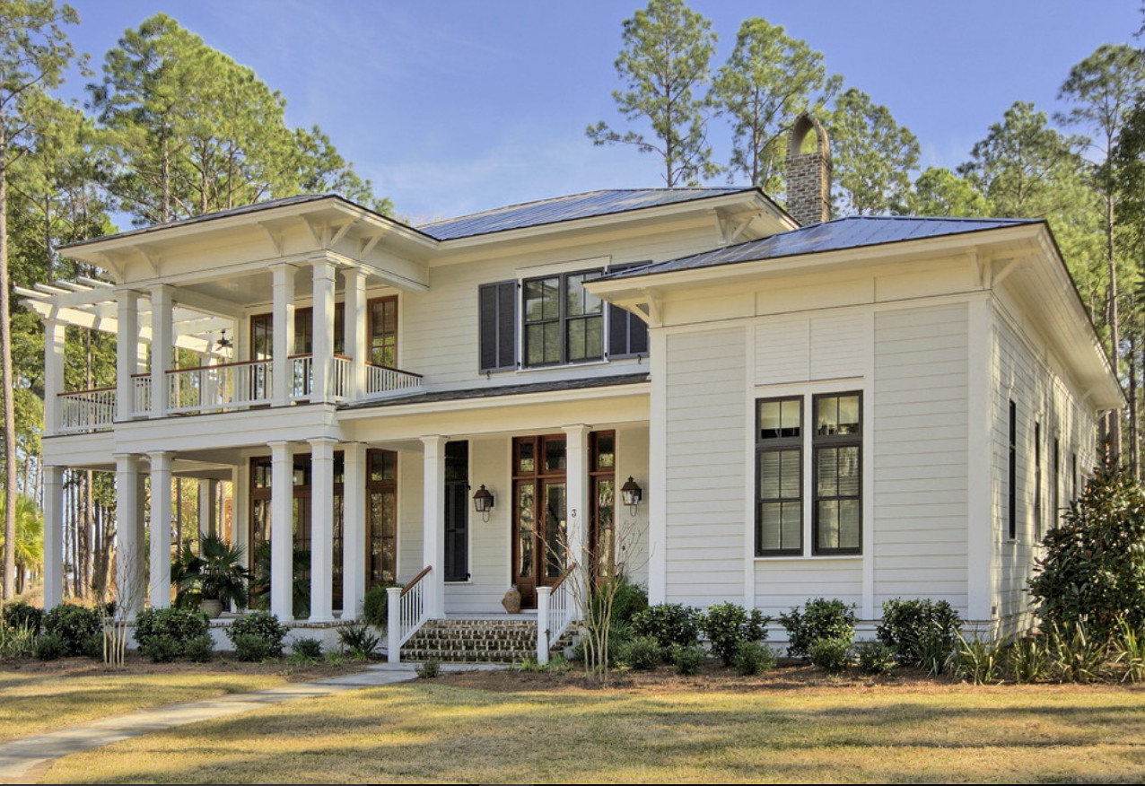 Siding and trim home paint color. Siding paint color is Stone White by Benjamin Moore (2120-70) and for the trim, Simply White by Benjamin Moore (2143-70) Court Atkins Group