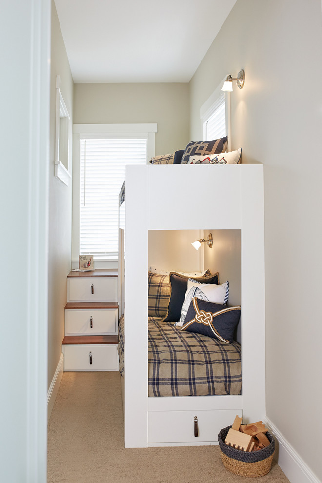 Small Bunkroom How to build a small bunkroom in a very small bedroom. In the small bunk room you will find space maximizing built in bunk beds with ultra-clever steps that provide storage. Small Bunkroom Ideas. Small Bunkroom with custom bunk beds. #SmallBunkroom.