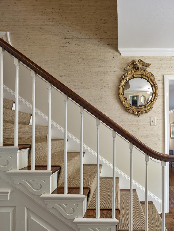 Stair runner and grasscloth wallpaper. Megan Gorelick Interiors