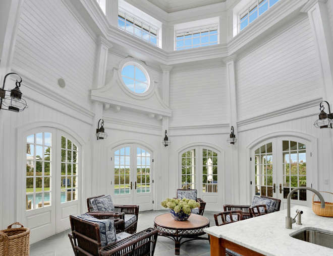 The interiors of this pool house resembles the interior of a lighthouse. #poolhouse Christie's Real Estate