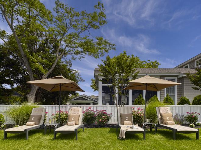White Fence Backyard. White Fence Backyard Ideas #WhiteFence #WhiteFenceBackyard Megan Gorelick Interiors