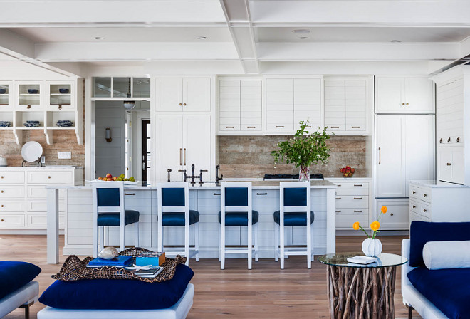 White Kitchen With Reclaimed Wood Backsplash. Beach House Kitchen With  Reclaimed Wood Backsplash. #