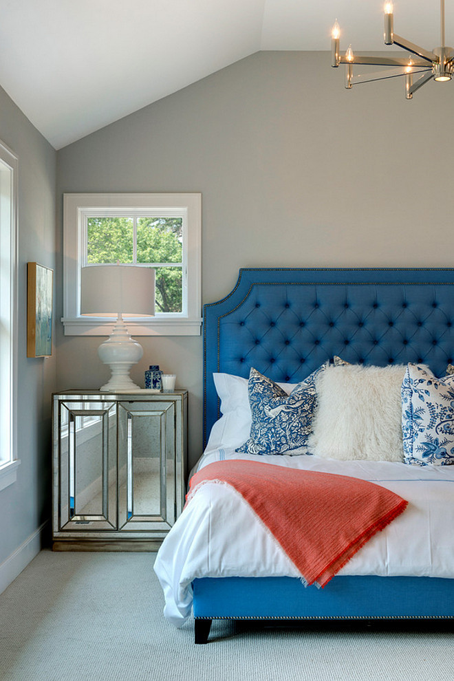 Blue Tufted Bed. Bedroom Furniture Blue Tufted Bed. Bedroom Furniture Ideas Blue Tufted Bed #BlueTuftedBed #BedroomFurniture #bedroom Spacecrafting Photography. City Homes Design and Build, LLC. Jodi Mellin Interiors.
