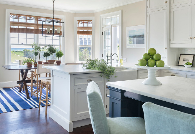 Coastal White Kitchen With Navy Blue Island Home Bunch
