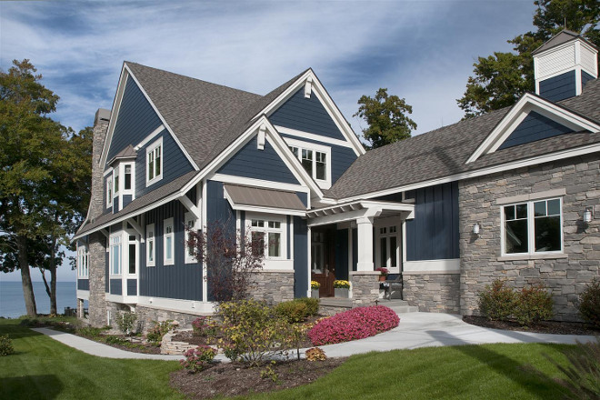 Navy exterior paint color. Navy home exterior paint color. Navy home exterior paint color ideas. Navy home exterior paint color is Hale Navy by Benjamin Moore #Benjaminmoorehalenavy #navypaintcolor #navyexteriorpaintcolor #Navyhome #Navyhomeexterior #paintcolor Mike Schaap Builders
