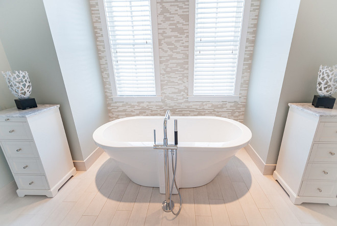 Freestanding Bath Storage. Freestanding Bath Storage Ideas. Freestanding Bath Storage. Place a cabinet (or two as seen in this picture) to add some storage space by your freestanding bath. #FreestandingBath #Storage #FreestandingBathStorage #BathStorage