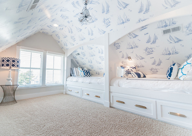 Bunk Room Wallpaper York Wall – Sherwin Williams - Ghent Pattern #: AC6139 Pattern Name: Sailboat Toile Collection: 476-By The Sea. Design by Strickland Homes