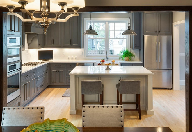 Gray kitchen with white island. Charcoal Gray kitchen with white island. Gray kitchen with white island paint color. Gray kitchen with white island #Graykitchenwhiteisland #ChacoalGraykitchenwhiteisland #Graykitchen #whiteisland Alexander Design Group, Inc.