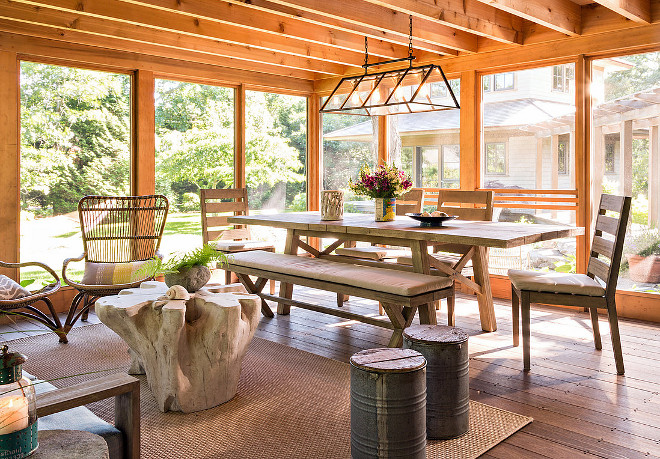 Rustic Screened in porch. Rustic Screened in porch with large dining table. Rustic Screened in porch flooring. Rustic Screened in porch ceiling. Rustic Screened in porches. #RusticScreenedinporch #Screenedinporch #Screenedinporches #Screenedinporchideas