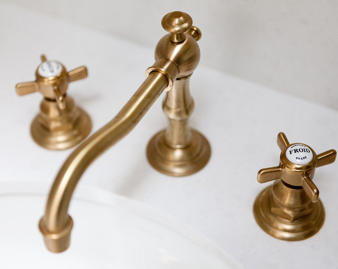 Brass Faucet. Brass Faucet Ideas. Bathroom Brass Faucet. The brass faucet is from Newport Brass and the finish is called Forever Brass. #BrassFaucet Holst Brothers General Contractors. Kirsten Marie Inc, KMI