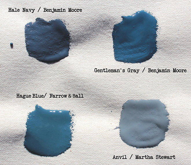 Blue and Navy Paint Color. Benjamin Moore Hale Navy. Benjamin Moore Gentleman's Gray. Farrow and Ball Hague Blue. Martha Stewart Anvil. #BenjaminMooreHaleNavy #BenjaminMooreGentlemasGray #FarrowandBallHagueBlue #MarthaStewartAnvil #Bluepaintcolors #Navypaintcolor