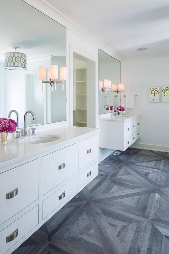 "Bathroom Wood Tile Flooring. Bathroom with wood-like floor tiles. The wood like flooring selected for this bathroom is a 30"" x 30"" tile from AKDO. #Bathroom #Bathroomflooring #woodlikefloortiles #woodtiles #woodfloortile Martha O'Hara Interiors"