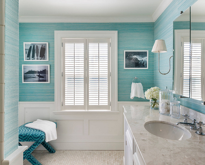 Bathroom turquoise wallpaper by Phillip Jefffries. Phillip Jefffries wallpaper. Bathroom with Turquoise Grasscloth and Wainscoting. The turquoise bathroom wallpaper is by Phillip Jefffries. Phillip Jefffries Turquoise wallpaper. Bathroom wallpaper #PhillipJefffriesWallpaper #Turquoisewallpaper #Bathroomwallpaper Kate Jackson Design