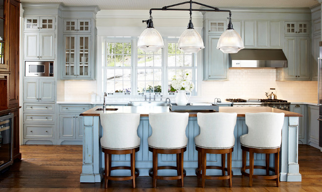 Distressed Kitchen Cabinet. Cottage Kitchen with Distressed Cabinets. Kitchen with distressed blue cabinets. Kitchen cabinets were distressed and glazed. #Kitchen #Distressedcabinets #KitchenDistressedCabinet #KitchenDistressedCabinets #Distressedkitchencabinet #glazedcabinet #distressedkitchen Muskoka Living