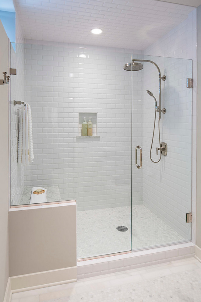 Beveled Subway Tile in Shower. Shower with Beveled Subway Tiles on Walls and Ceiling. Beveled Subway Tiles. #Bathroom #BeveledSubwayTile #BathroomBeveledSubwayTile #BathroomBeveledSubwayWallTile Martha O'Hara Interiors