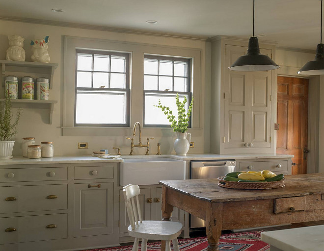Gray farmhouse kitchen. Gray farmhouse kitchen. Gray farmhouse kitchen paint color. Gray farmhouse kitchen paint color is Farrow and Ball Hardwick White. #Grayfarmhousekitchen #FarrowandBallHardwickWhite #graykitchen #paintcolor #farmhousekitchenpaintcolor Rafe Churchill Traditional Houses