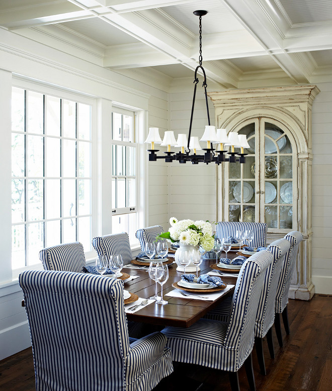 Dining Room. Dining Room. Dining Room Design. Dining Room. Dining Room. Coastal dining room with shiplap walls and coffered ceiling. #DiningRoom #DiningRoomDesign Muskoka Living