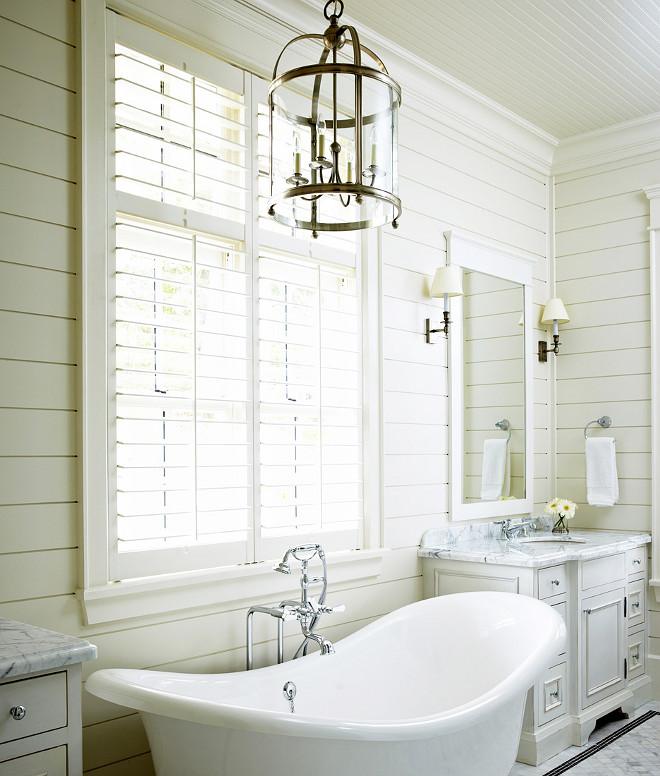 Bathroom Shiplap walls and marble flooring. Shiplap Bathroom and Marble. Bathroom with shiplap walls, marble floor tiles and shutters on bathroom window. #shiplap #bathroom #marblefloortiles #shutters Muskoka Living