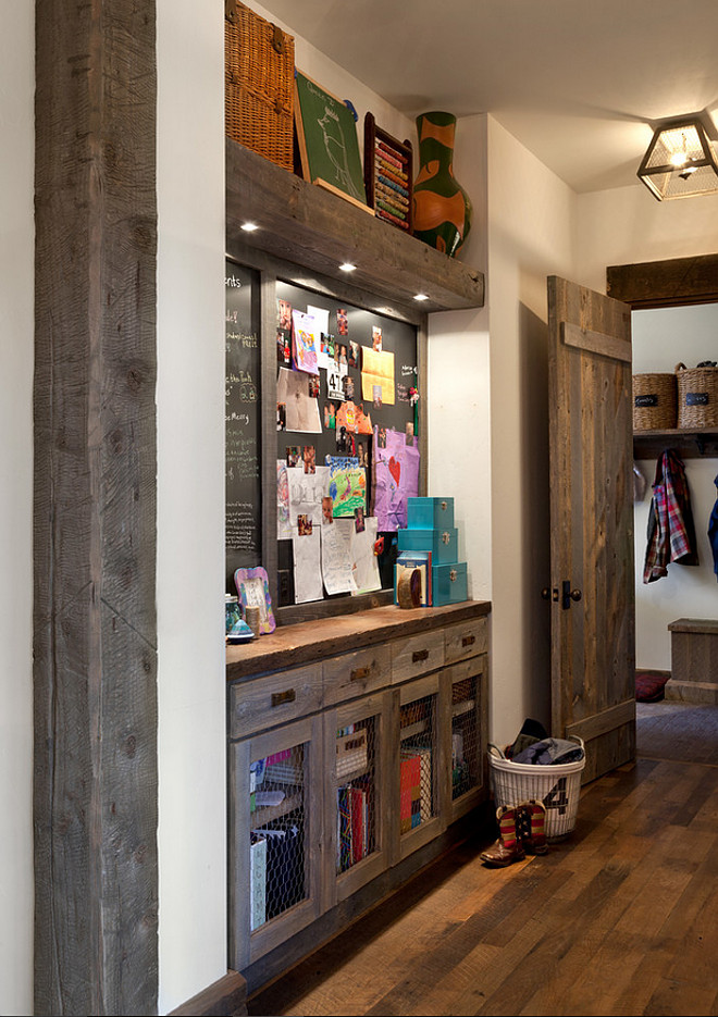 "Mudroom with hall niche, which serves an important purpose for families with school-aged children. A necessary ""drop spot"" and craft storage/display area is uber-functional Dragonfly Designs."